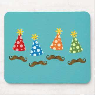 Retro Moustache Party Mouse Pad