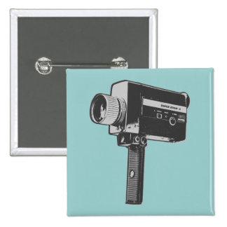 Retro Movie Camera 15 Cm Square Badge