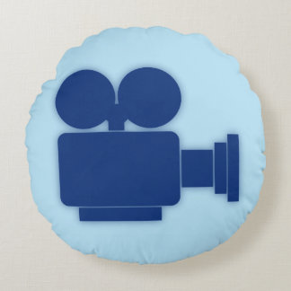 RETRO MOVIE CAMERA (BLUE) Round Pillow