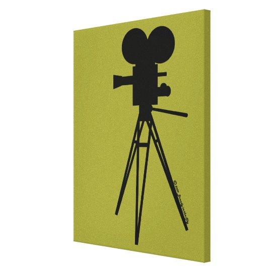 Retro Movie Camera Silhouette Custom Art Canvas