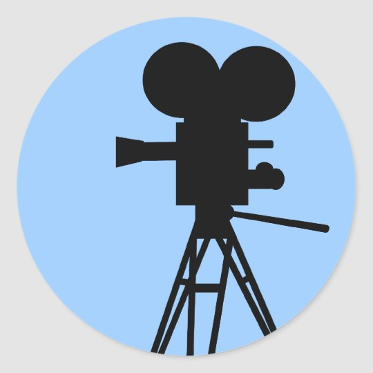 Retro Movie Camera Silhouette Stickers