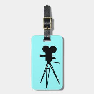 Retro Movie Camera Silhouette Travel Bag Tags