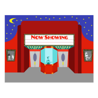 Retro Movie Theater Postcard