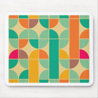 Retro multi color trendy 70's pattern funky fun mouse pad