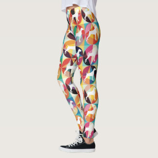 RETRO MULTI COLOUR GRAPHIC WEIMARANER LEGGINGS