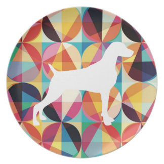 RETRO MULTI COLOUR GRAPHIC WEIMARANER PLATE