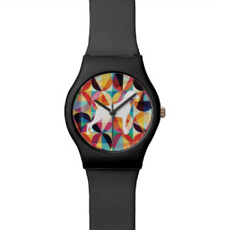 RETRO MULTI COLOUR GRAPHIC WEIMARANER WATCH BLACK