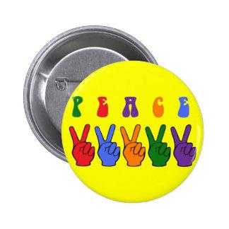 Retro Multicolor Peace Hand 6 Cm Round Badge
