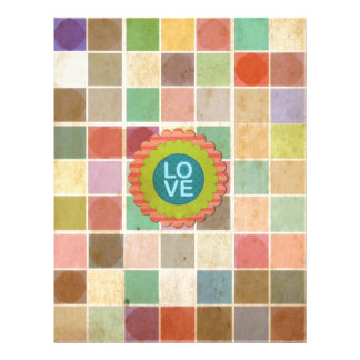 Retro Multicolored Square Pattern. Love Design Full Color Flyer