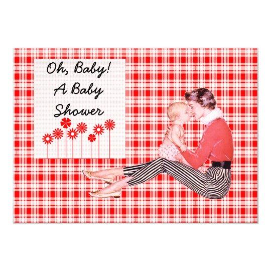 Retro Mum and Baby Shower Card