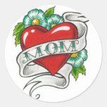 Retro Mum Tattoo Round Sticker