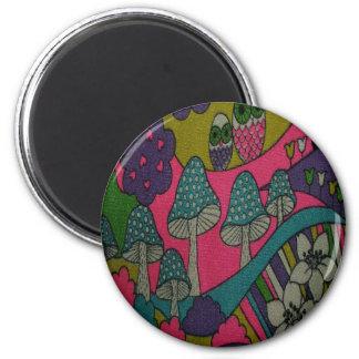 Retro Mushrooms and Owls Magnet