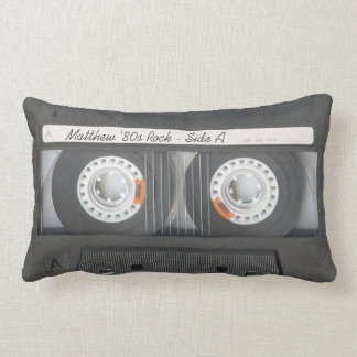 Retro Music Cassette Mix Tape Look Custom Text Lumbar Cushion