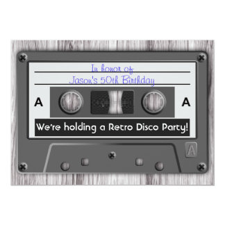 Retro Music Cassette Tape Disco Party 13 Cm X 18 Cm Invitation Card