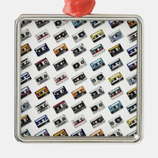 Retro Music Cassette Tapes Silver-Colored Square Decoration