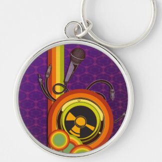 retro music funky vector art Silver-Colored round key ring