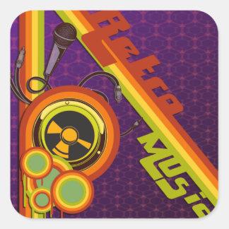 retro music funky vector art square sticker