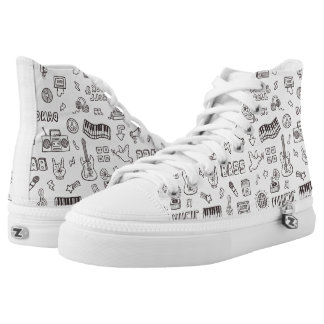 Retro Music Icons Doodle Pattern Shoes