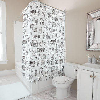 Retro Music Icons Doodle Pattern Shower Curtain
