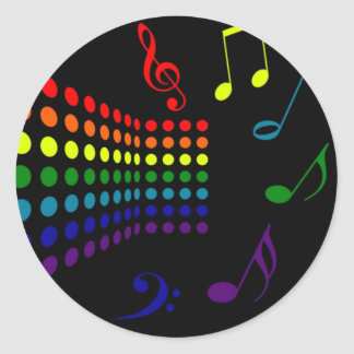 Retro Music II Classic Round Sticker