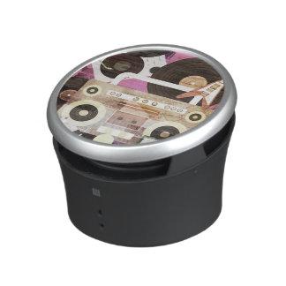 Retro Music Instrument Collage Pink Bluetooth Speaker