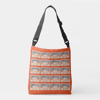 Retro music lover cassette graphic pattern crossbody bag