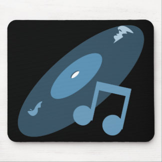 Retro Music Record & Note Blue Mouse Mat