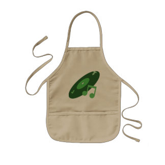 Retro Music Record & Note Green Aprons