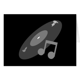 Retro Music Record Note Grey Greeting Card
