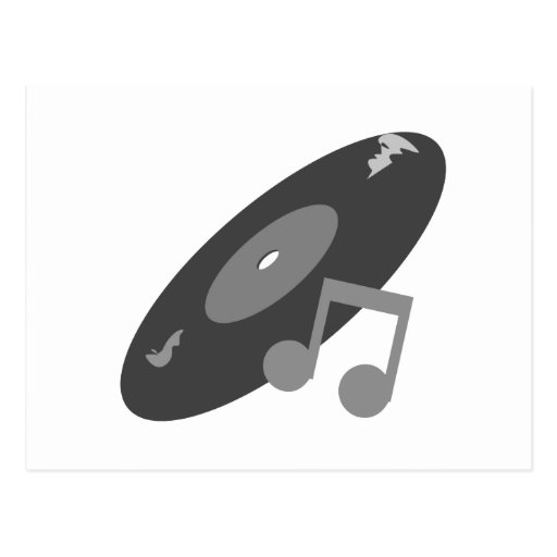 Retro Music Record & Note Grey Postcards