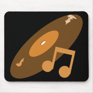 Retro Music Record & Note Orange Mouse Mat