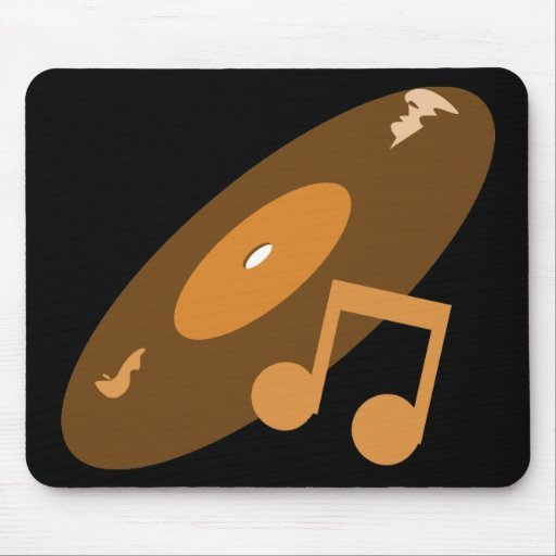 Retro Music Record & Note Orange Mouse Pads
