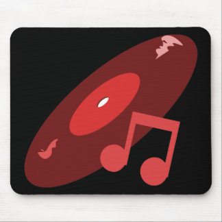 Retro Music Record & Note Red Mouse Mat