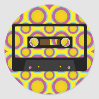 Retro Music Round Stickers