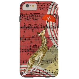 Retro Musical Flying Giraffe Red Umbrella Tough iPhone 6 Plus Case