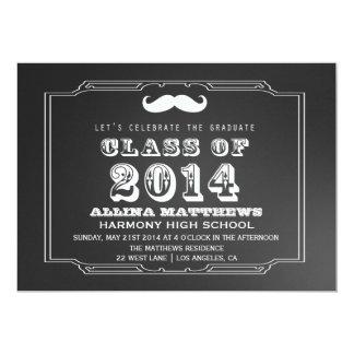 Retro Mustache Class of 2014 Graduation Invitation