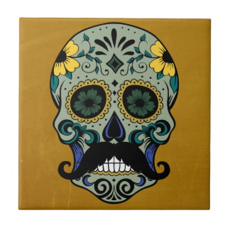 Retro Mustache Day of the Dead Sugar Skull Small Square Tile