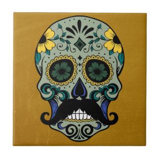 Retro Mustache Day of the Dead Sugar Skull Tile