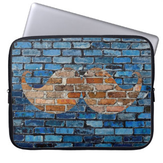 Retro Mustache Moustache Stache on Brick Wall Laptop Sleeve