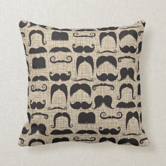 Retro Mustache Moustache Stache Pattern Cushion