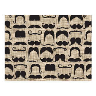 Retro Mustache Moustache Stache Pattern Postcard