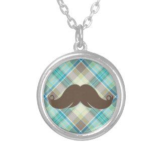 Retro Mustache on Plaid Background CUTE Jewelry