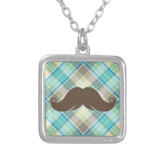 Retro Mustache on Plaid Background CUTE! Personalized Necklace