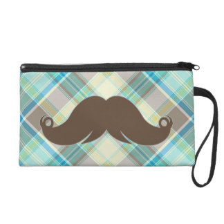 Retro Mustache on Plaid Background CUTE! Wristlet