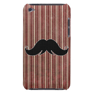 Retro Mustache on Striped Background iPod Case-Mate Case