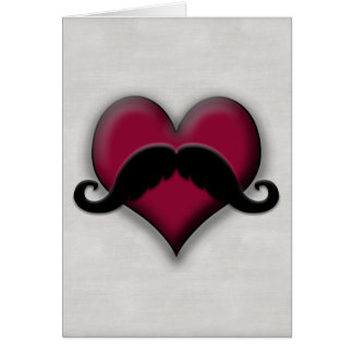 Retro Mustache Stache Heart Handlebar Card