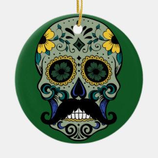 Retro Mustache Sugar Skull Christmas Ornament