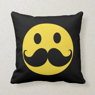 Retro Mustache Yellow Smiley Face Cushion