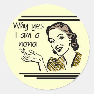 Retro Nana T-shirts and Gifts Round Sticker