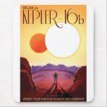 Retro NASA Travel Poster - Relax on Kepler 16b Mouse Pad